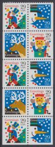 USA Michel 2410-2413 / Scott 2798a postfrisch Markenheftchenblatt(10) (a) - Weihnachten