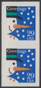 USA Michel 2422 / Scott 2803 postfrisch vert.PAAR - Weihnachten: Schneemann