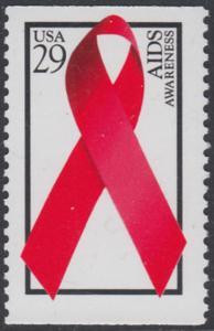 USA Michel 2426E / Scott 2806b postfrisch EINZELMARKE - Welt-AIDS-Tag: Abzeichen der Arthur-Ashe-Stiftung