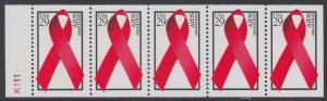 USA Michel 2426E / Scott 2806b postfrisch Markenheftchenblatt(5) RAND links m/ Platten-# K111 - Welt-AIDS-Tag: Abzeichen der Arthur-Ashe-Stiftung