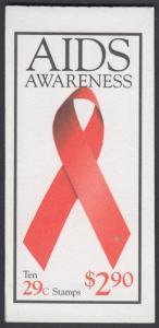 USA Michel 2426E / Scott 2806b postfrisch Markenheftchen(10) - Welt-AIDS-Tag: Abzeichen der Arthur-Ashe-Stiftung