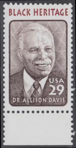USA Michel 2434 / Scott 2816 postfrisch EINZELMARKE RAND unten - Schwarzamerikanisches Erbe: Allison Davis, Anthropologe und Psychologe