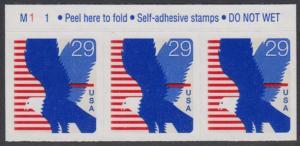USA Michel 2435 / Scott 2598 postfrisch horiz.STRIP(3) RÄNDER oben m/ Platten-# M111 - Weißkopfseeadler