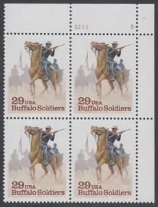 "USA Michel 2439 / Scott 2818 postfrisch PLATEBLOCK ECKRAND oben rechts m/ Platten-# S2222-2 - Schwarzamerikanische Truppen ""Buffalo Soldiers""; Kavallerie-Patrouille"