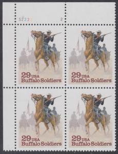 "USA Michel 2439 / Scott 2818 postfrisch PLATEBLOCK ECKRAND oben links m/ Platten-# S2222-2 - Schwarzamerikanische Truppen ""Buffalo Soldiers""; Kavallerie-Patrouille"