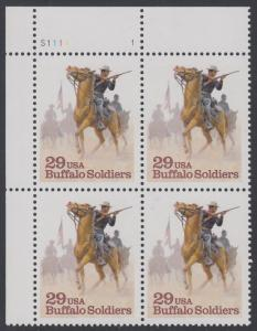 "USA Michel 2439 / Scott 2818 postfrisch PLATEBLOCK ECKRAND oben links m/ Platten-# S1111-1 - Schwarzamerikanische Truppen ""Buffalo Soldiers""; Kavallerie-Patrouille"