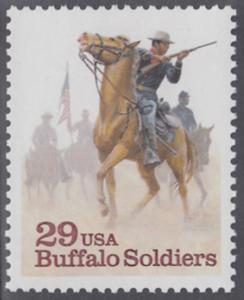 """USA Michel 2439 / Scott 2818 postfrisch EINZELMARKE - Schwarzamerikanische Truppen """"Buffalo Soldiers""""; Kavallerie-Patrouille"""