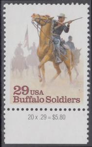 """USA Michel 2439 / Scott 2818 postfrisch EINZELMARKE RAND unten - Schwarzamerikanische Truppen """"Buffalo Soldiers""""; Kavallerie-Patrouille"""