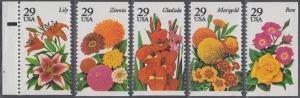 USA Michel 2450-2454 / Scott 2829-2833 postfrisch SATZ(5) EINZELMARKEN RAND links m/ Platten-# - Gartenblumen des Sommers