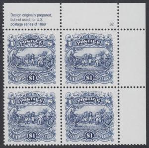 USA Michel 2455 / Scott 2590 postfrisch PLATEBLOCK ECKRAND oben rechts m/ Platten-# S2 (a) - Die Kapitulation von General Burgoyne bei Saratoga