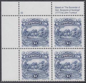 USA Michel 2455 / Scott 2590 postfrisch PLATEBLOCK ECKRAND oben links m/ Platten-# S2 (b) - Die Kapitulation von General Burgoyne bei Saratoga