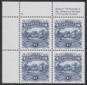 USA Michel 2455 / Scott 2590 postfrisch PLATEBLOCK ECKRAND oben links m/ Platten-# S2 (a) - Die Kapitulation von General Burgoyne bei Saratoga