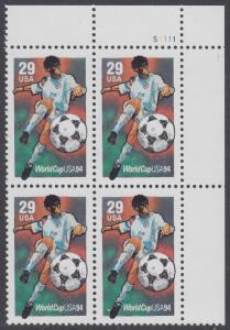 USA Michel 2457 / Scott 2834 postfrisch PLATEBLOCK ECKRAND oben rechts m/ Platten-# S1111 (b) - Fußball-Weltmeisterschaft, USA: Torschuss
