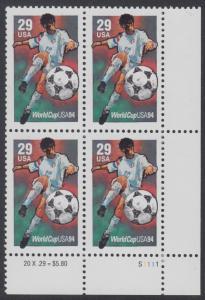 USA Michel 2457 / Scott 2834 postfrisch PLATEBLOCK ECKRAND unten rechts m/ Platten-# S1111 (a) - Fußball-Weltmeisterschaft, USA: Torschuss