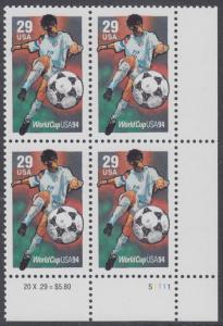 USA Michel 2457 / Scott 2834 postfrisch PLATEBLOCK ECKRAND unten rechts m/ Platten-# S1111 (c) - Fußball-Weltmeisterschaft, USA: Torschuss