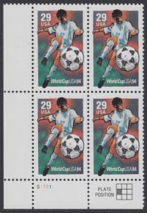 USA Michel 2457 / Scott 2834 postfrisch PLATEBLOCK ECKRAND unten links m/ Platten-# S1111 - Fußball-Weltmeisterschaft, USA: Torschuss