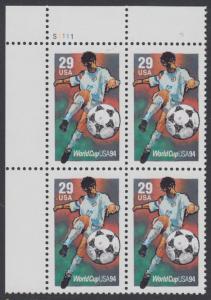 USA Michel 2457 / Scott 2834 postfrisch PLATEBLOCK ECKRAND oben links m/ Platten-# S1111 - Fußball-Weltmeisterschaft, USA: Torschuss