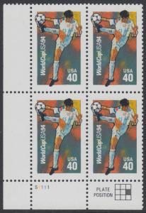 USA Michel 2458 / Scott 2835 postfrisch PLATEBLOCK ECKRAND unten links m/ Platten-# S1111 - Fußball-Weltmeisterschaft, USA: Ballannahme