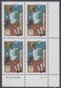 USA Michel 2459 / Scott 2836 postfrisch PLATEBLOCK ECKRAND unten rechts m/ Platten-# S1111  - Fußball-Weltmeisterschaft, USA: Kopfball