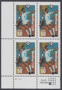 USA Michel 2459 / Scott 2836 postfrisch PLATEBLOCK ECKRAND unten links m/ Platten-# S1111 - Fußball-Weltmeisterschaft, USA: Kopfball