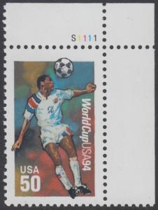 USA Michel 2459 / Scott 2836 postfrisch EINZELMARKE ECKRAND oben rechts m/ Platten-# S1111 - Fußball-Weltmeisterschaft, USA: Kopfball