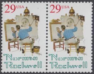 USA Michel 2472 / Scott 2839 postfrisch horiz.PAAR - 100. Geburtstag von Norman Rockwell, Maler