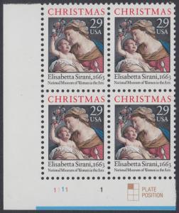 USA Michel 2526A / Scott 2871 postfrisch PLATEBLOCK ECKRAND unten links - Weihnachten: Maria mit Kind