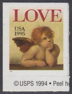 USA Michel 2544 / Scott 2949 postfrisch EINZELMARKE RAND unten m/ copyright symbol - Grußmarke: Engel