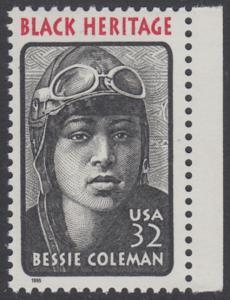 USA Michel 2558 / Scott 2956 postfrisch EINZELMARKE RAND rechts - Schwarzamerikanisches Erbe: Bessie Coleman, Pilotin
