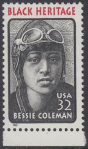 USA Michel 2558 / Scott 2956 postfrisch EINZELMARKE RAND unten - Schwarzamerikanisches Erbe: Bessie Coleman, Pilotin