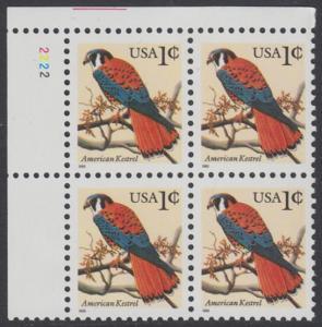 USA Michel 2559 / Scott 2977 postfrisch PLATEBLOCK ECKRAND oben links - Tiere: Buntfalke