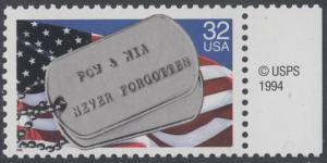 USA Michel 2569 / Scott 2966 postfrisch EINZELMARKE RAND rechts m/ copyright symbol - Kriegsgefangene und Vermißte; Militärische Erkennungsmarken, Staatsflagge
