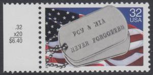 USA Michel 2569 / Scott 2966 postfrisch EINZELMARKE RAND links (a2) - Kriegsgefangene und Vermißte; Militärische Erkennungsmarken, Staatsflagge