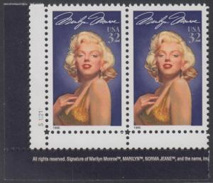 USA Michel 2570 / Scott 2967 postfrisch horiz.PAAR ECKRAND unten links m/ Platten-# S112211 - Hollywood-Legenden: Marilyn Monroe (1926-1962), Schauspielerin