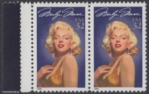 USA Michel 2570 / Scott 2967 postfrisch horiz.PAAR RAND links - Hollywood-Legenden: Marilyn Monroe (1926-1962), Schauspielerin
