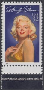 USA Michel 2570 / Scott 2967 postfrisch EINZELMARKE RAND unten (a1) - Hollywood-Legenden: Marilyn Monroe (1926-1962), Schauspielerin