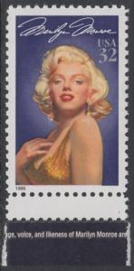 USA Michel 2570 / Scott 2967 postfrisch EINZELMARKE RAND unten (a2) - Hollywood-Legenden: Marilyn Monroe (1926-1962), Schauspielerin