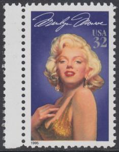 USA Michel 2570 / Scott 2967 postfrisch EINZELMARKE RAND links - Hollywood-Legenden: Marilyn Monroe (1926-1962), Schauspielerin