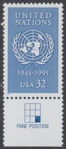 USA Michel 2582 / Scott 2974 postfrisch EINZELMARKE RAND unten (a3) - 50 Jahre Vereinte Nationen (UNO)