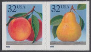 USA Michel 2603-2604 / Scott 2493-2694 postfrisch horiz.PAAR (a1) - Früchte: Pfirsiche/Birne