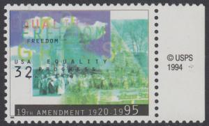 USA Michel 2614 / Scott 2980 postfrisch EINZELMARKE RAND rechts m/ copyright symbol - Frauenwahlrecht: 75 Jahre 19. Verfassungszusatz