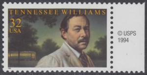 USA Michel 2673 / Scott 3002 postfrisch EINZELMARKE RAND rechts m/ copyright symbol - Tennessee Williams (1911-1983), Schriftsteller