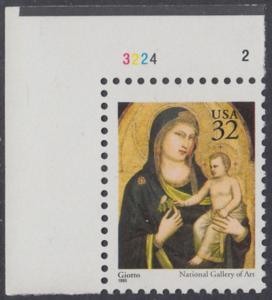 USA Michel 2674A / Scott 3003 postfrisch EINZELMARKE ECKRAND oben links m/ Platten-# 3224_2 - Weihnachten: Maria mit Kind