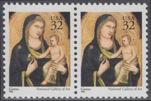 USA Michel 2674A / Scott 3003 postfrisch horiz.PAAR - Weihnachten: Maria mit Kind