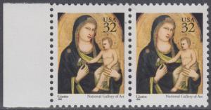 USA Michel 2674A / Scott 3003 postfrisch horiz.PAAR RAND links - Weihnachten: Maria mit Kind