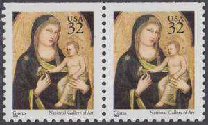 USA Michel 2674D / Scott 3003A postfrisch horiz.PAAR (oben ungezähnt) - Weihnachten: Maria mit Kind