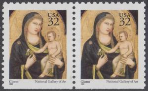 USA Michel 2674D / Scott 3003A postfrisch horiz.PAAR (unten ungezähnt) - Weihnachten: Maria mit Kind