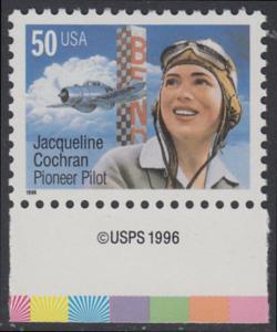 USA Michel 2700 / Scott 3066 postfrisch EINZELMARKE RAND unten m/ copyright symbol - Flugpioniere: Jacqueline Cochran (1906-1980)