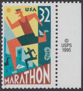 USA Michel 2703 / Scott 3067 postfrisch EINZELMARKE RAND rechts m/ copyright symbol - 100 Jahre Marathonlauf