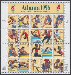 USA Michel 2705-2724 / Scott 3068 postfrisch BOGEN(20) (a1) - 100 Jahre Olympische Spiele der Neuzeit; Olympische Sommerspiele, Atlanta